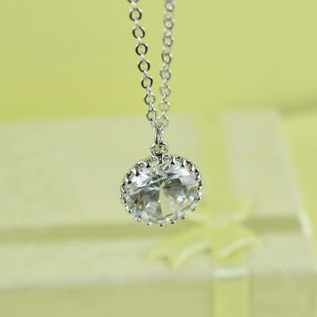 Beautiful CZ Pendant Necklace, Rhodium Plated Brass,  Cubic Zirconia, Delicate Chain, Everyday Wear, Perfect Gift