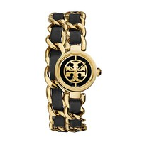 Tory Burch Reva Mini Chain Double-wrap Watch, Black Leather/gold-tone, 20.5 Mm