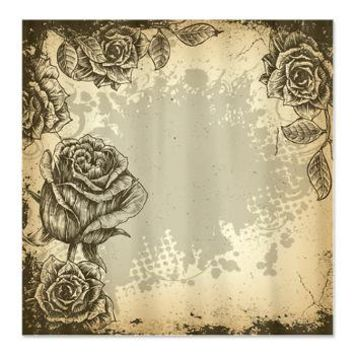 Vintage Grunge Roses Shower Curtain> Shower Curtains> CLICK HERE-4 LOWER PRICES-GetYerGoat.com