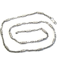 Unusual Long Sterling Roman Numeral Chain Link Necklace