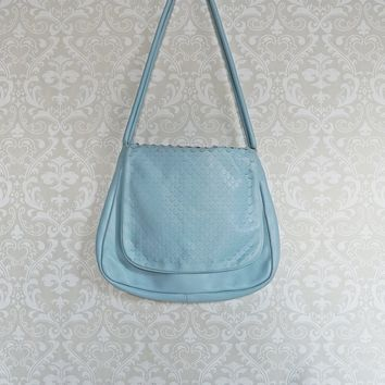 Vintage 1970s Powder Blue + Leather Handbag