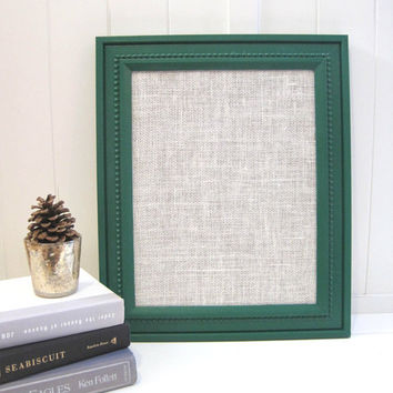 Emerald Green White Burlap Memo Board / Bulletin Board / Office Organization / Wedding Display / Vintage Frame