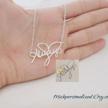 Personalized Signature Necklace - Sterling Silver Name Necklace - Your Handwriting Jewelry