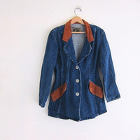 Vintage dark wash denim JEAN blazer. women's Western Jean Jacket.
