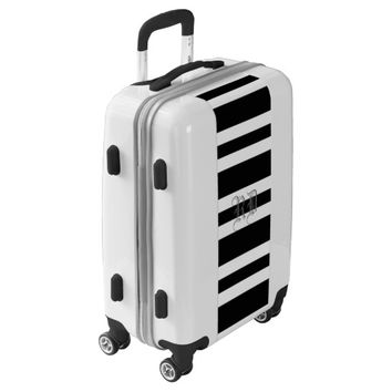 Black White Stripes Monogram Luggage