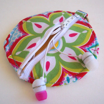 Mandala Flowers Circle Earbud Holder Pouch / Coin Purse / Kaleidoscope Print / Hot Pink , Yellow , Lime Green