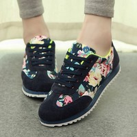 Flower Print Women Canvas Shoes Fashion Sneakers,2015 New Spring Sneakers Lace-up Flat Platform Casual Shoes
