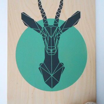 Large Gazelle on Plywood. Handmade. Stencil Art. Faux Taxidermy. Geometric. Origami Deer. Original Art