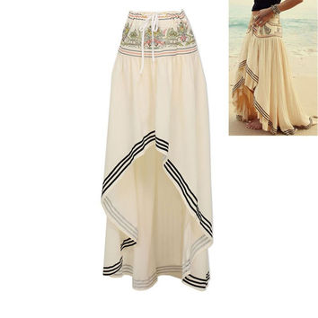 New Hot Summer Women Boho Style Long Skirt Maxi Beach Asymmetric Wrap Baggy Skirts