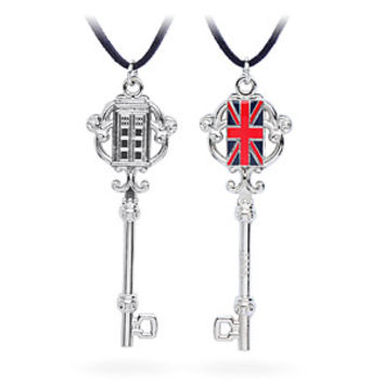 TARDIS & Union Jack Antique Key Necklace