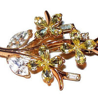 Trifari Brooch Yellow Rhinestone Flowers Ice Baguettes Gold Metal 2 1/2' Vintage