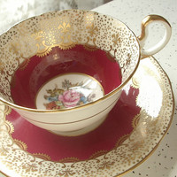Antique English tea cup, vintage Aynsley Bailey signed bone china tea set, red and gold fleur de lis tea cup and saucer