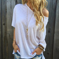 Fashion Loose Off Shoulder T-Shirt Top