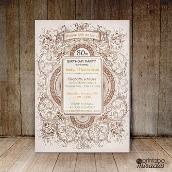 Milestone Birthday Invitation, Grandmother Birthday Party Invite Card, Victorian Birthday Invites, Fancy Rustic Invite, Digital printable