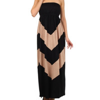 In Style Black/Mocha Strapless Maxi Dress