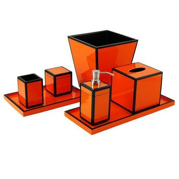 Orange & Black Lacquer Bathroom Accessories