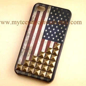 Studded iPhone 4 Case, Vintage Flags iPhone 4s Case, Studded Iphone Cases, America United States Flags  iPhone 4 Case