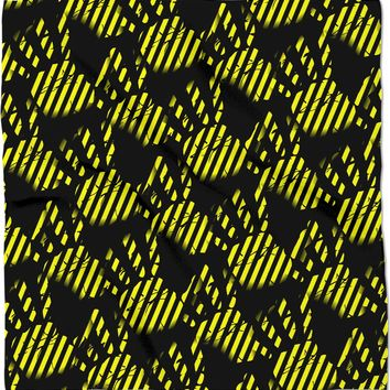 Black and yellow construction stripes theme, palm prints pattern bandana design