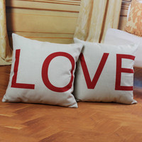 LOVE Couples Home Sofa Decorative Throw Pillow Case Lovers Cushion Cover