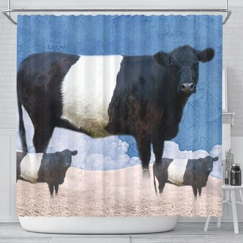 Amazing Belted Galloway Cattle (Cow) Print Shower Curtain-Free Shipping
