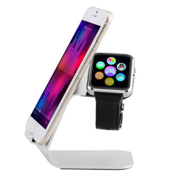 Metal Charging Stand Holder Wood Dock Cradle Display for Apple Watch iWatch 38mm 42mm for iPhone 6 6S 6 Plus Samsung edge HTC