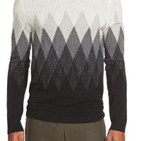 Men's Vince Argyle Jaspe Wool & Linen Crewneck Sweater,