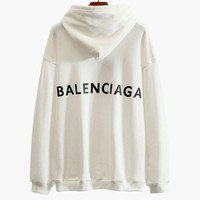 LMFIH3 Balenciaga Stylish Print Long Sleeve Sweatshirt Hoodies Top White