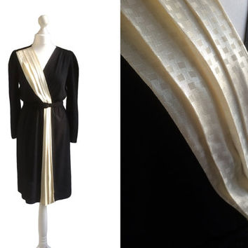 Black Vintage Dress - Charlie California - Black Crepe And Ivory Satin - LBD Little Black Dress - 1970s Does 1940s Style