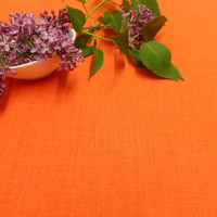 Orange Linen tablecloth. Natural linen table cloth. Linen tablecloth 54 x 96 Summer table