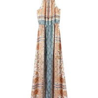 Brown & Blue Floral Print Halter Neckline Maxi Dress