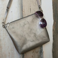 Silver Leather Crossbody Bag,Gray Leather Crossbody Bag,Silver Leather Purse,Leather Crossbody Bag,Leather Handbag,Silver Crossbody Bag