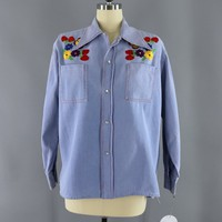 Vintage 1970s Embroidered Shirt / Blue Chambray Denim