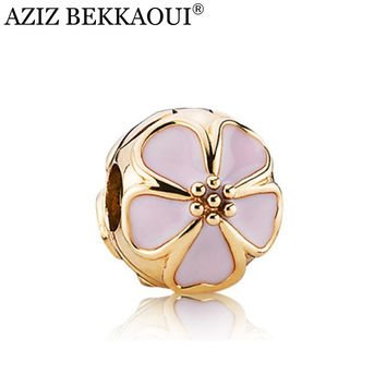 Diy Flower Beads Charms Safty Clip Fit Pandora Bracelets & Bangles Rose Gold Sakura Clips Locks Cherry Blossoms Stopper Charms