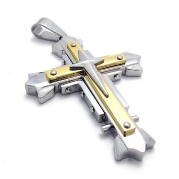 Cross Necklace of 316L Steel Titanium Jewelry for Men (PENDANT ONLY)-Color Black/Silver