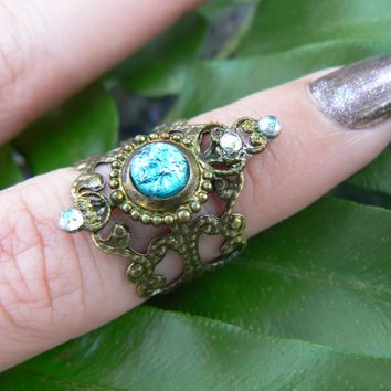 blue midi ring,blue fire opal,midi ring,aqua knuckle ring,Aquamarine