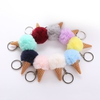 9 Colors Fluffy Fur Ice Cream Keychain