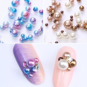 1 Bag Mermaid Gradient Pearl 3D Nail Decorations Multi-size Colorful Rhinestone Beads Manicure Nail Art Decorations