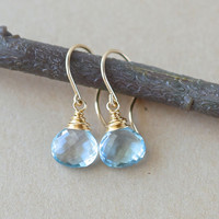 Sky Blue Topaz Earrings in Gold Fill, Gemstone Briolette Earrings, Birthstone for December, Artisan Jewelry