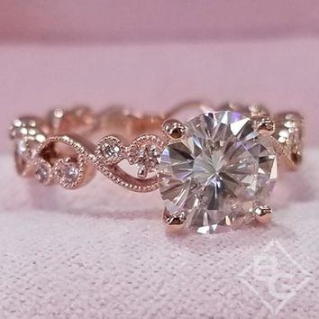 "Kirk Kara Rose Gold ""Angelique"" Diamond Milgrain Scroll Work Engagement Ring"