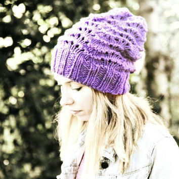 Slouchy Beanie Hat - Purple - Hand Knitted Vegan Hat -  Woman's Hat - Teen Girl Hat