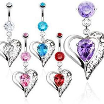 Belly Ring-Vintage Heart
