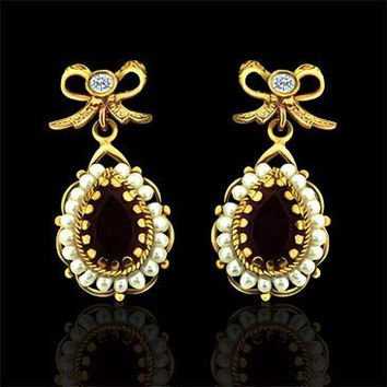 Victorian Style Diamond and Garnet Earrings 14k Yellow Gold