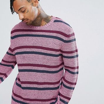 ASOS Textured Striped Jumper In Pink at asos.com