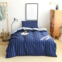 Twin Size Comforter Bedding Sets Navy Color Stripe Duvet Cover 100% Cotton Student Pillowcase Bed Sheet