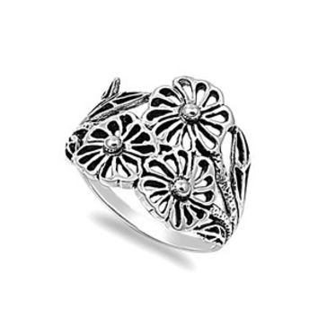 925 Sterling Silver Three Flowers of Promise Ring