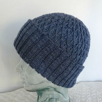 Knit Beanie, Knit Slouchy Hat, Denim Blue Hat, Knit Blue Cap, Watch Cap, Beanie, Knit Hat, Wide Fold Up Brim, Rib and Diamond Design Hat