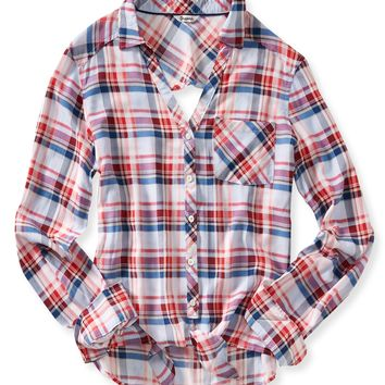 Long Sleeve Open Back Plaid Woven Shirt