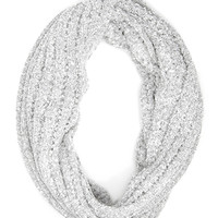 FOREVER 21 Open-Knit Infinity Scarf Light Heather Grey One