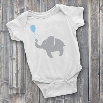 Elephant with balloon Onesuit, cute Onesuits, onsies, baby Onesuits, adorable, baby shower gifts, baby