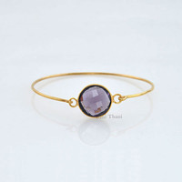 Handmade Silver Bangle - Gemstone Bracelet, Amethyst Quartz 15mm - Bracelet Jewelry- Gold Plated Bangle - 925 Sterling Silver Bangle #1404
